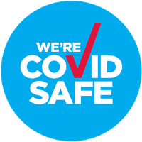 Blue NSW Covid Safe badge for certified COVID Safe tourism operator